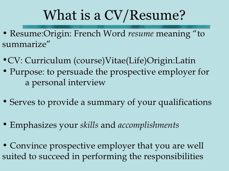 resume meaning