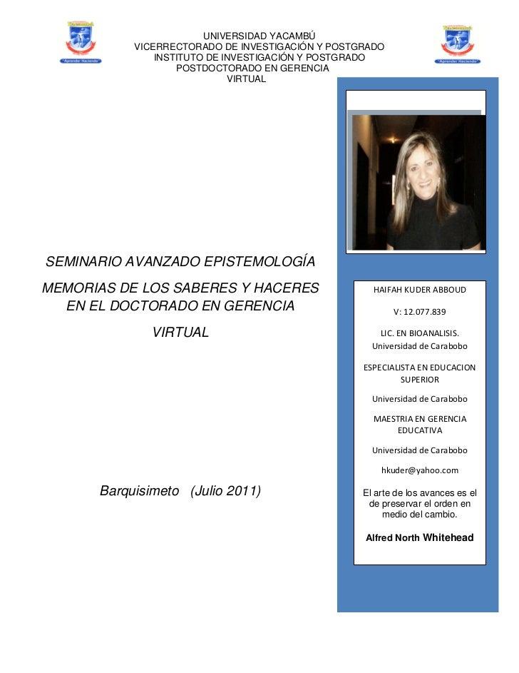 UNIVERSIDAD YACAMBÚ           VICERRECTORADO DE INVESTIGACIÓN Y POSTGRADO               INSTITUTO DE INVESTIGACIÓN Y POSTG...