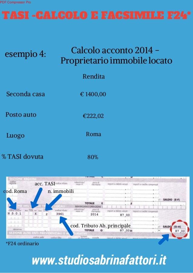 Tasi calcolo e facsimile f24 for Aliquota tasi roma