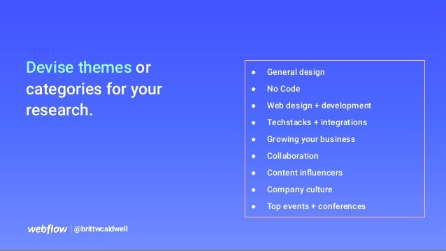   @brittwcaldwell Devise themes or categories for your research. STEP 1 ● General design ● No Code ● Web design + developm...