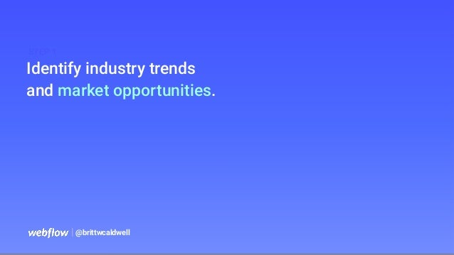   @brittwcaldwell Identify industry trends and market opportunities. STEP 1