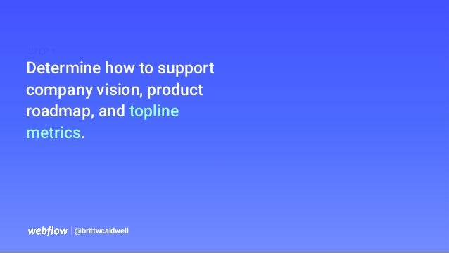 Determine how to support company vision, product roadmap, and topline metrics.   @brittwcaldwell STEP 1