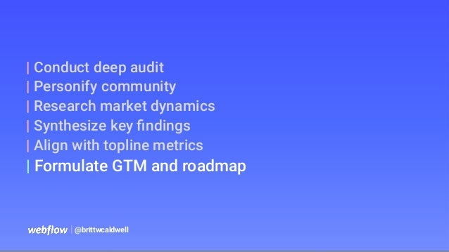   @brittwcaldwell   Conduct deep audit   Personify community   Research market dynamics   Synthesize key findings   Align w...