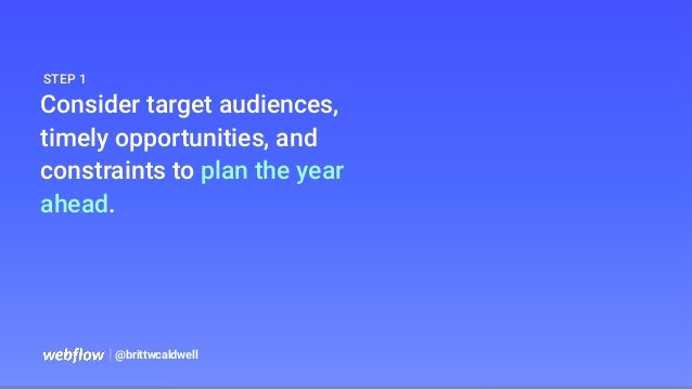   @brittwcaldwell Consider target audiences, timely opportunities, and constraints to plan the year ahead. STEP 1