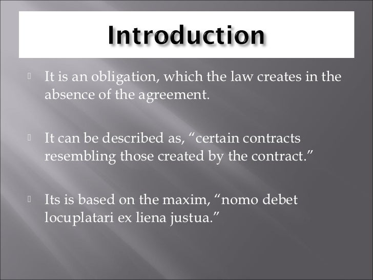 Explain what is meant by quasi contract