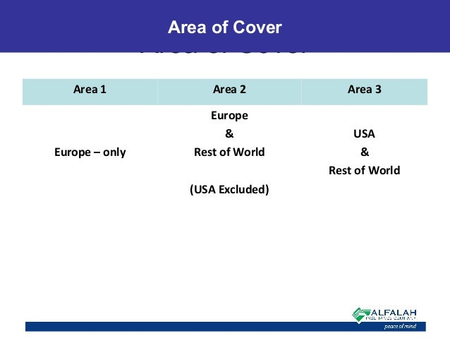 Area of Cover Area of Cover Area 1 Area 2 Area 3 Europe – only Europe & Rest of World (USA Excluded) USA & Rest of World