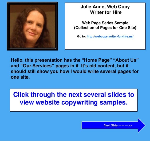 Web Page Text Writing Example Home Page About Us
