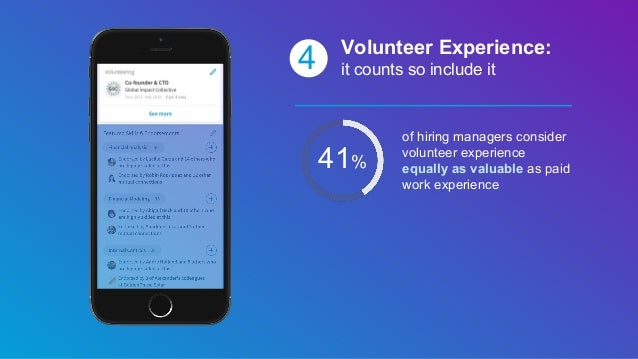 41% 4 Volunteer Experience: it counts so include it of hiring managers consider volunteer experience equally as valuable a...