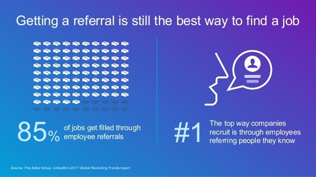 Getting a referral is still the best way to find a job of jobs get filled through employee referrals85% Source: The Adler ...