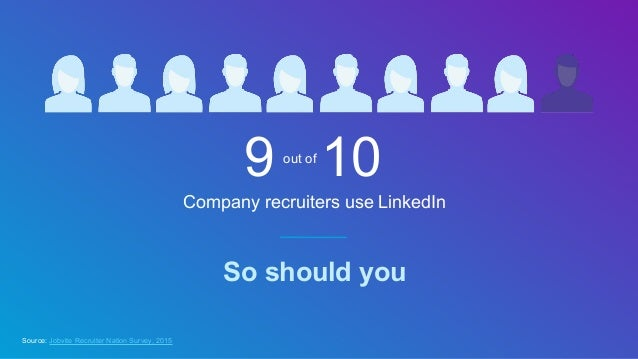 Company recruiters use LinkedIn So should you Source: Jobvite Recruiter Nation Survey, 2015 9 10out of