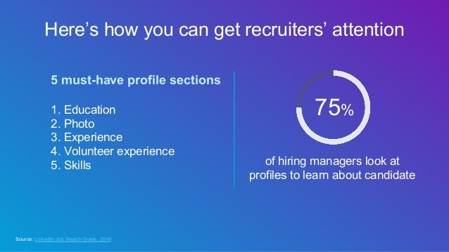 Here's how you can get recruiters' attention 1. Education 2. Photo 3. Experience 4. Volunteer experience 5. Skills of hiri...