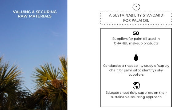 f8039318689a ... MATERIALS; 21. 50 Suppliers for palm oil used in CHANEL makeup products  Conducted a traceability study of supply ...