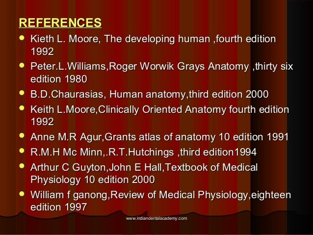 REFERENCESREFERENCES  Kieth L. Moore, The developing human ,fourth editionKieth L. Moore, The developing human ,fourth ed...