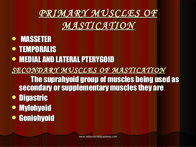PRIMARY MUSCLES OFPRIMARY MUSCLES OF MASTICATIONMASTICATION  MASSETERMASSETER  TEMPORALISTEMPORALIS  MEDIAL AND LATERAL...
