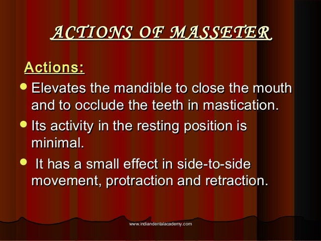 ACTIONS OF MASSETERACTIONS OF MASSETER Actions:Actions: Elevates the mandible to close the mouthElevates the mandible to ...