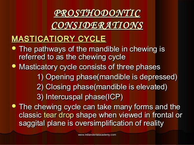 PROSTHODONTICPROSTHODONTIC CONSIDERATIONSCONSIDERATIONS MASTICATIORY CYCLEMASTICATIORY CYCLE  The pathways of the mandibl...