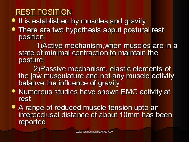REST POSITIONREST POSITION  It is established by muscles and gravityIt is established by muscles and gravity  There are ...