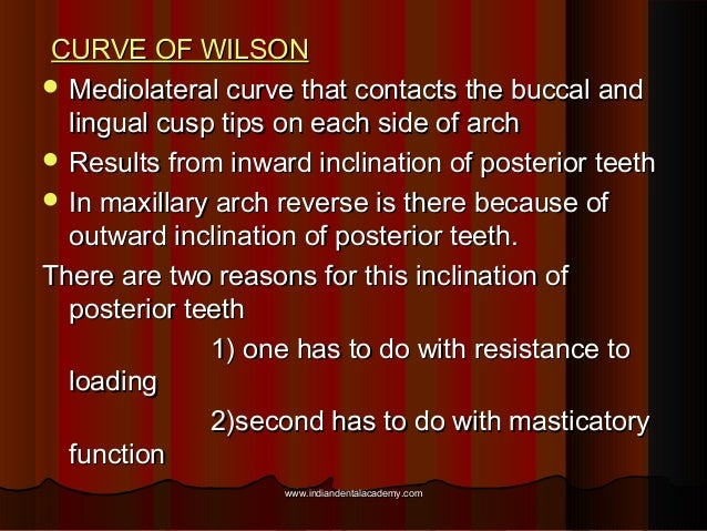 CURVE OF WILSONCURVE OF WILSON  Mediolateral curve that contacts the buccal andMediolateral curve that contacts the bucca...