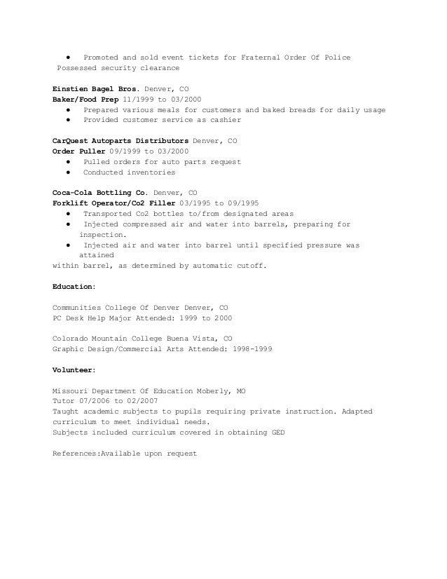 Order pulling resume