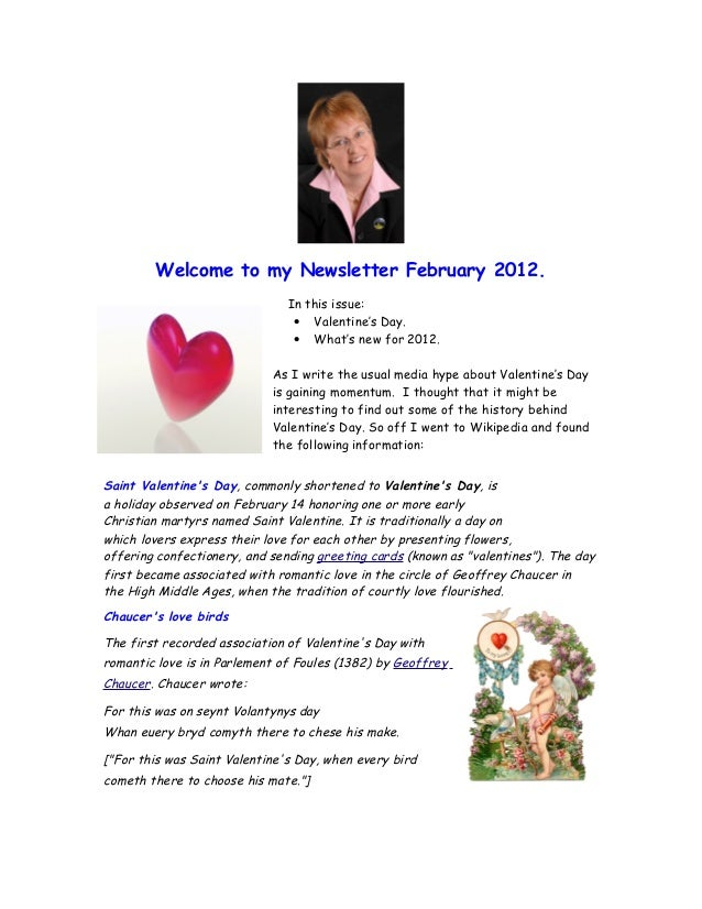 Valentine S Day Newsletter From Hilary