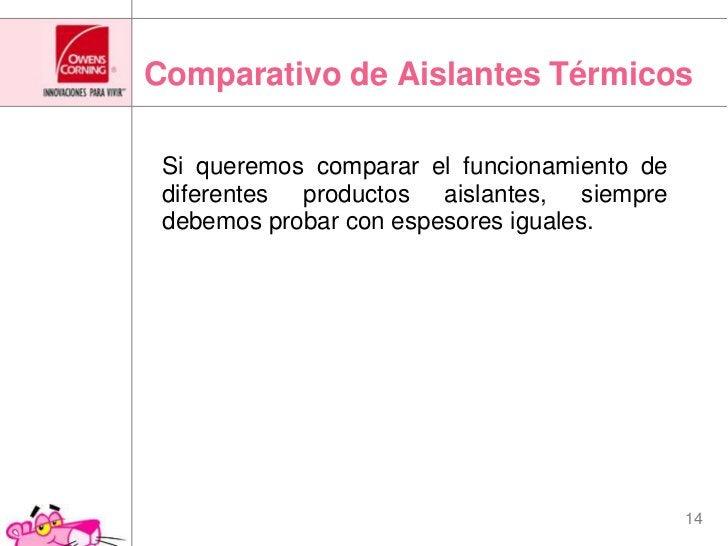 Comparativo de Aislantes Térmicos<br />Si queremos comparar el funcionamiento de diferentes productos aislantes, siempre ...