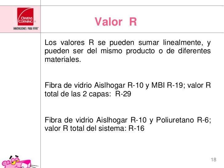 Valor  R<br />Los valores R se pueden sumar linealmente, y pueden ser del mismo producto o de diferentes materiales.<br /...