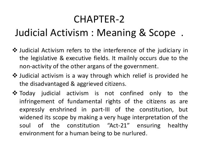 Meaning of judicial activism in india
