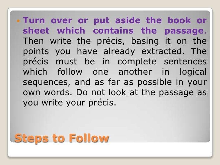 how to write a precis step by step