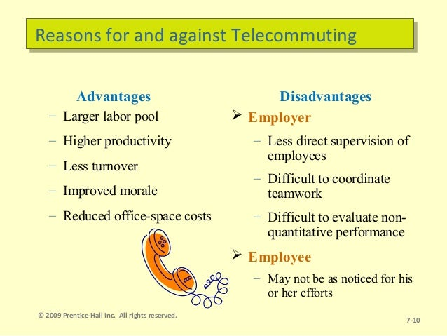 the advantages and disadvantages of telecommuting Despite all the benefits of working at home, telecommuting also has its disadvantages before you set up your home office, be aware of these 17 rotten bits about telecommuting--both its minor .