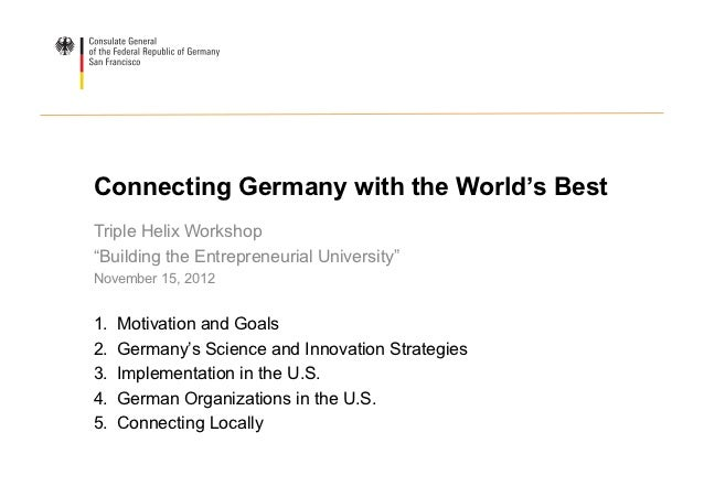 """Connecting Germany with the World's BestTriple Helix Workshop""""Building the Entrepreneurial University""""November 15, 20121...."""