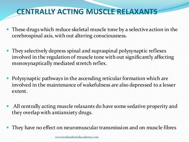 Copy Of Skeletal Muscle Relaxants Dental Implant Courses