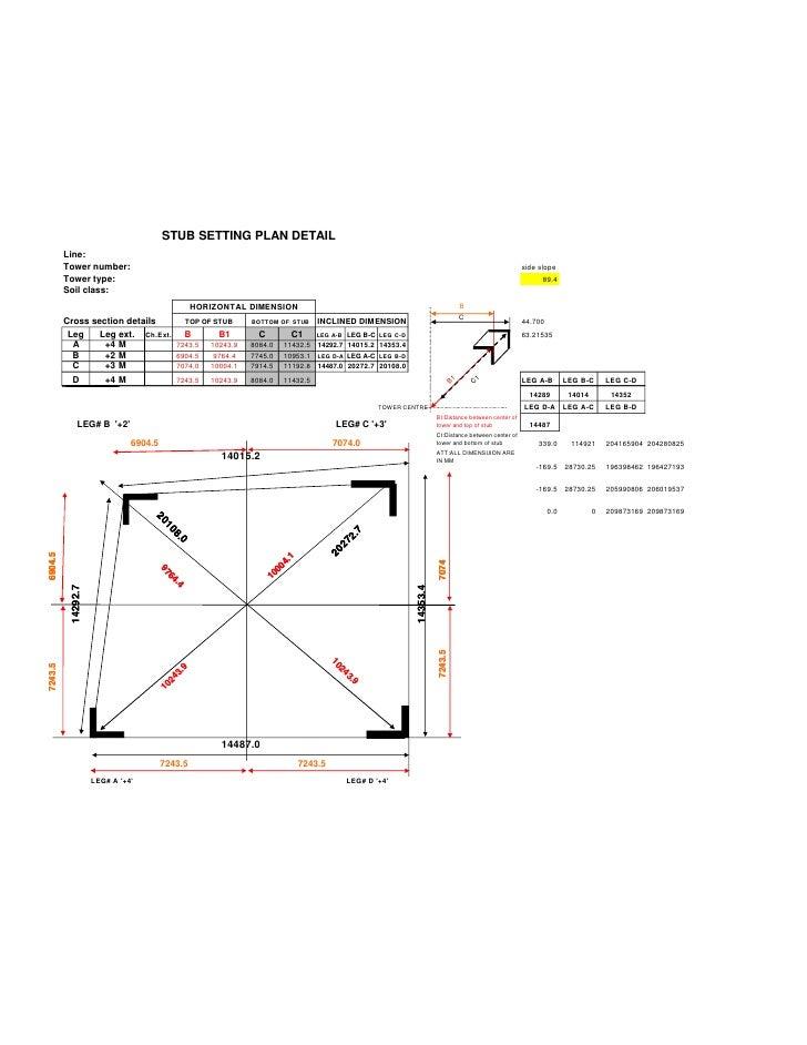 STUB SETTING PLAN DETAIL         Line:         Tower number:                                                              ...