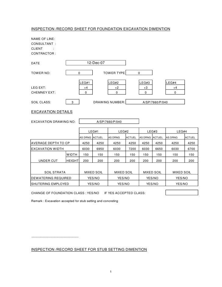 INSPECTION /RECORD SHEET FOR FOUNDATION EXCAVATION DIMENTIONNAME OF LINE:CONSULTANT :CLIENT              :CONTRACTOR :DATE...