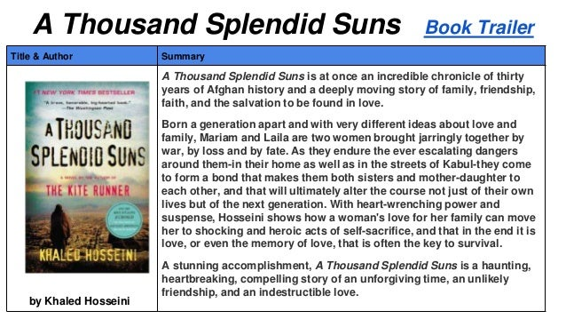 the importance of friendship in a thousand splendid suns and the kite runner by khaled hosseini Get an answer for 'what message/s in common does khaled hosseini try to transmit through his two novels, the kite runner and a thousand splendid sunswhat do the novels have in common what themes .