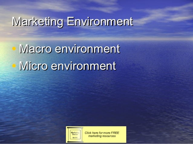 Marketing Environment• Macro environment• Micro environment