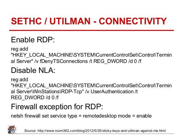 "SETHC / UTILMAN - CONNECTIVITY Enable RDP: reg add ""HKEY_LOCAL_MACHINESYSTEMCurrentControlSetControlTermin al Server"" /v f..."