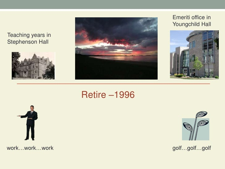 Emeriti office in Youngchild Hall<br />Teaching years in Stephenson Hall<br />Retire –1996<br />work…work…work<br />golf…g...