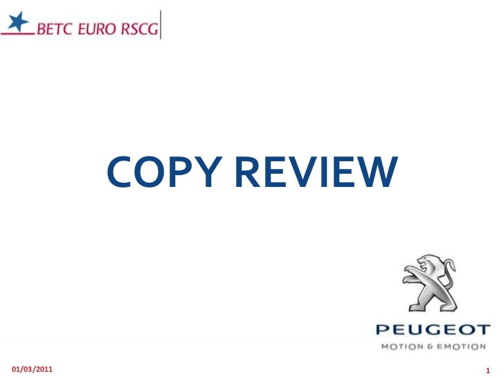 COPY REVIEW<br />01/03/2011<br />1<br />