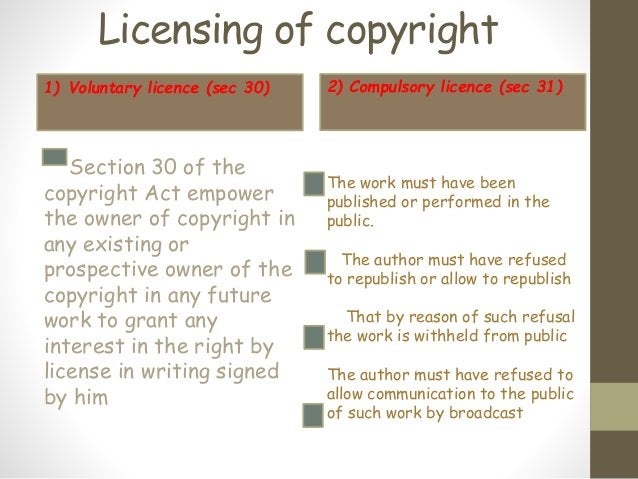 Licensing of copyright 1) Voluntary licence (sec 30) Section 30 of the copyright Act empower the owner of copyright in any...