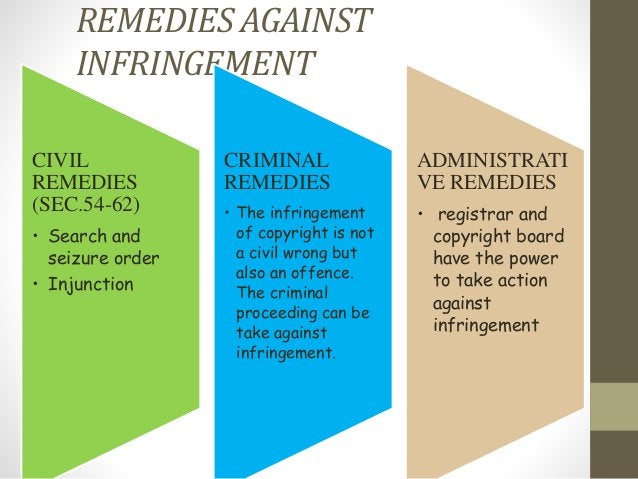 REMEDIES AGAINST INFRINGEMENT CIVIL REMEDIES (SEC.54-62) • Search and seizure order • Injunction CRIMINAL REMEDIES • The i...