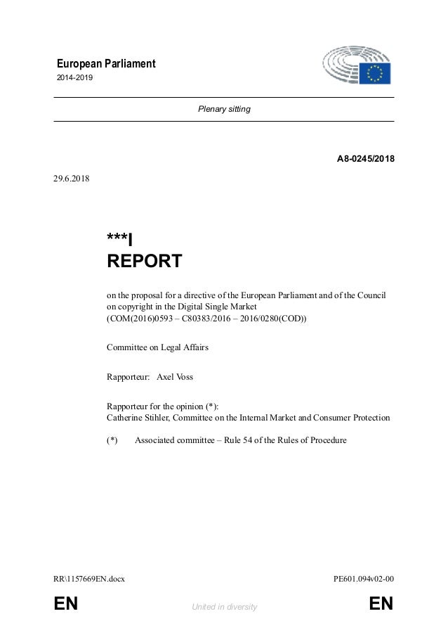 Plenary sitting A8-0245/2018 29.6.2018 ***I REPORT on the proposal for a directive of the European Parliament and of the C...