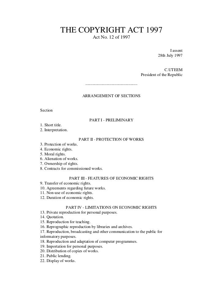 THE COPYRIGHT ACT 1997                              Act No. 12 of 1997                                                    ...