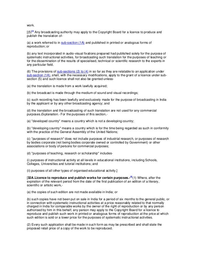 work.[(5)84 Any broadcasting authority may apply to the Copyright Board for a licence to produce andpublish the translatio...