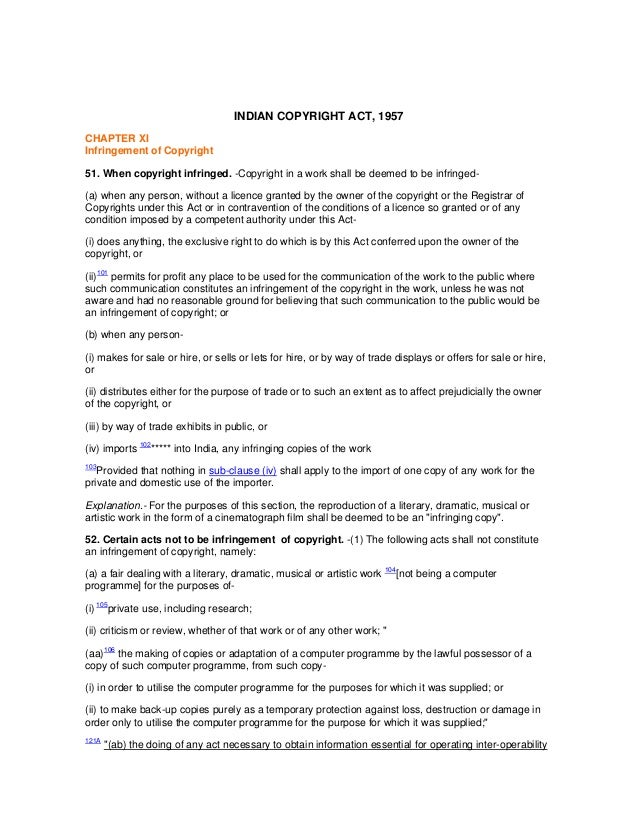 INDIAN COPYRIGHT ACT, 1957CHAPTER XIInfringement of Copyright51. When copyright infringed. -Copyright in a work shall be d...