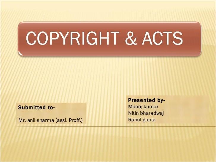 Presented by-Submitted to-                    Manoj kumar                                 Nitin bharadwajMr. anil sharma (...