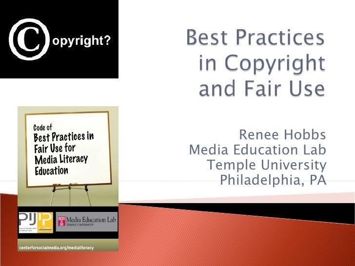 Renee Hobbs Media Education Lab Temple University Philadelphia, PA