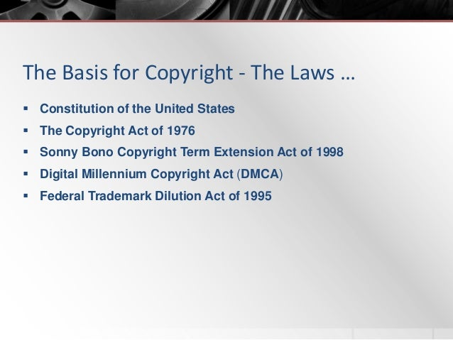 sonny bono copyright act Then, in 1998, the sonny bono act also fixed a period of 95 years for anything placed under copyright from 1923 to 1977, after which the measure isn't fixed, but based on when an author perishes.