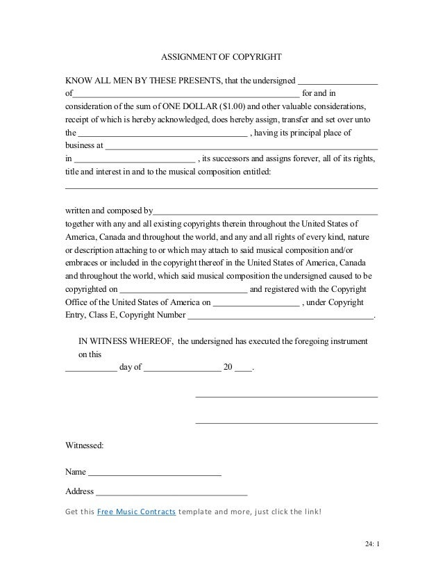 copyright assignment agreement Copyright transfer agreement  sufficiency of which are hereby acknowledged,  the author(s) hereby transfer to the optical society (osa) full.