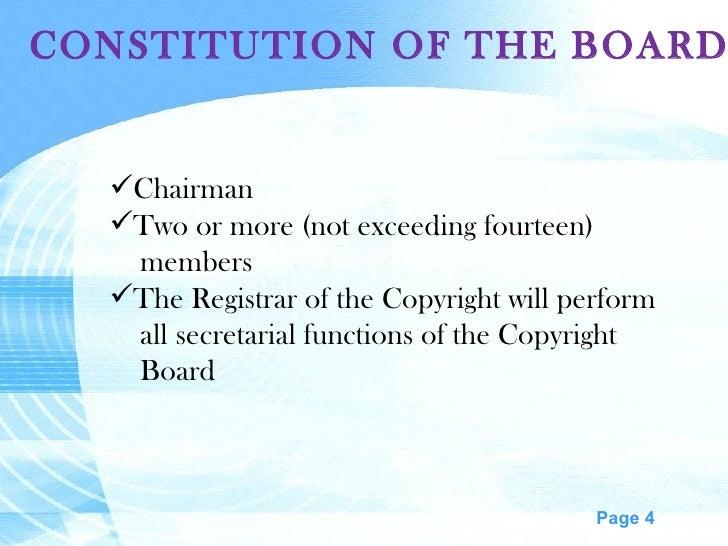 CONSTITUTION OF THE BOARD <ul><li>Chairman </li></ul><ul><li>Two or more (not exceeding fourteen) </li></ul><ul><li>member...