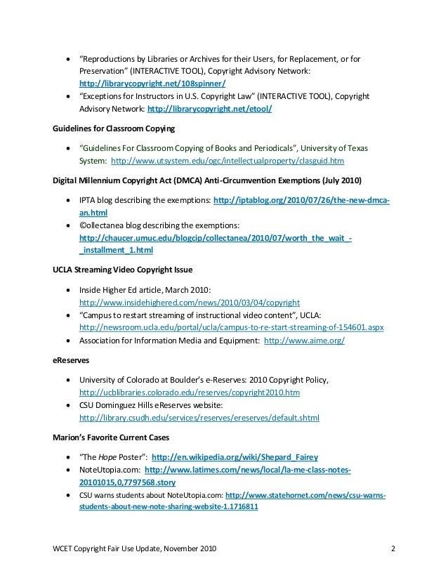 2010 Copyright Fair Use Resources